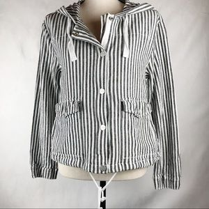 Sanctuary Nova Striped Linen Jacket Hooded Small